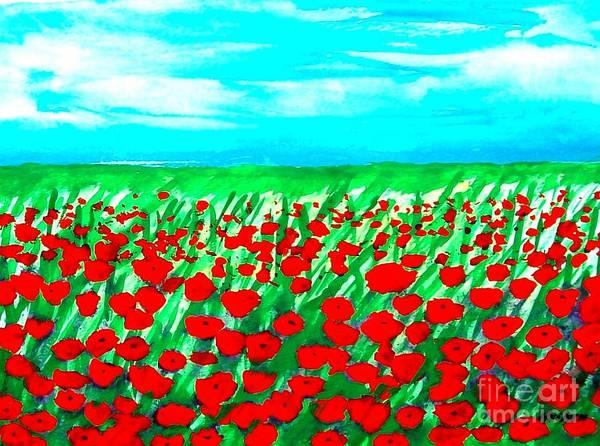 Red Poppy Mixed Media - Poppy Field Abstract by Marsha Heiken
