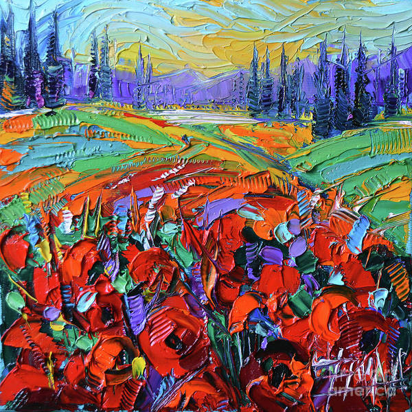 Dreamscape Painting - Poppy Field Impression Modern Impressionist Impasto Palette Knife Painting by Mona Edulesco