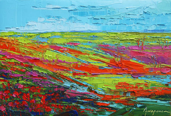 Painting - Poppy Field Modern Abstract Impressionistic Oil Painting Palette Knife by Patricia Awapara