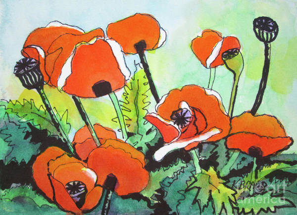 Wall Art - Painting - Poppy Floral And Green by Kathy Braud