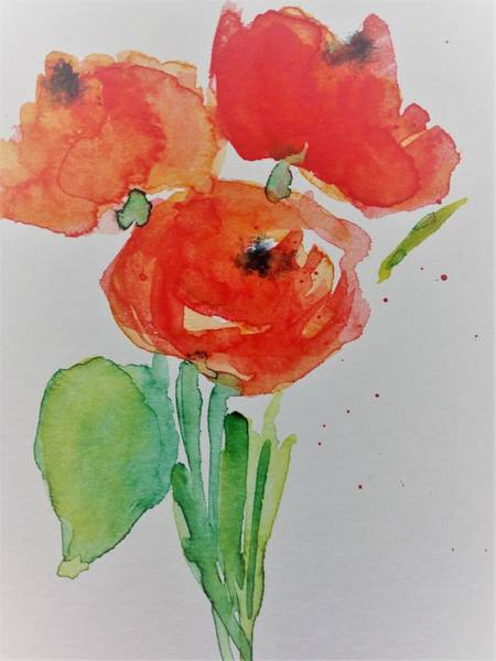 Poppie Painting - Poppy Flowers 1 by Britta Zehm