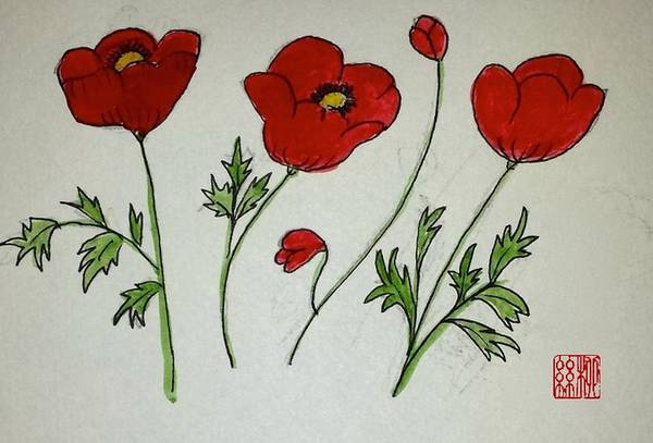 Painting - Poppy Flowers by Margaret Welsh Willowsilk