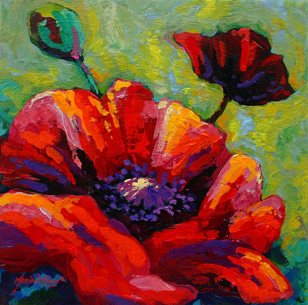 Scenic Landscape Painting - Poppy I by Marion Rose