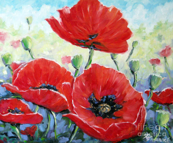 Floral Shower Curtain Painting - Poppy Love Floral Scene by Richard T Pranke