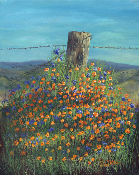 Fencepost Painting - Poppy Mornings  by Gina Marie Wilson