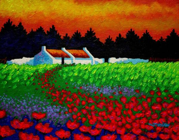Atmospheric Painting - Poppy Path by John  Nolan
