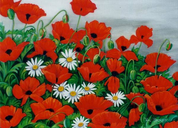 Painting - Poppy Pirouette by Val Stokes