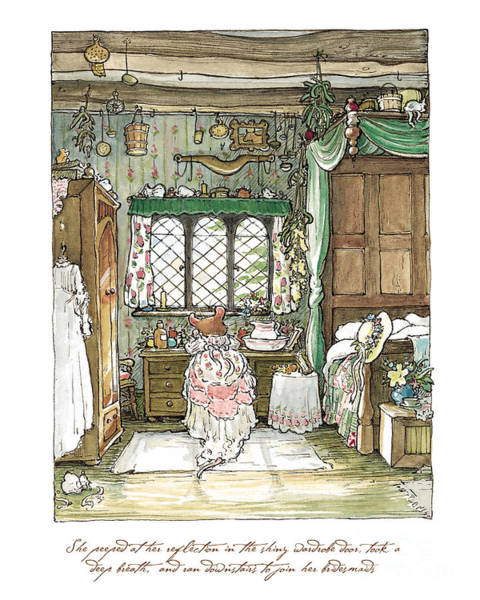 Wall Art - Drawing - Poppy Puts On Her Wedding Dress by Brambly Hedge