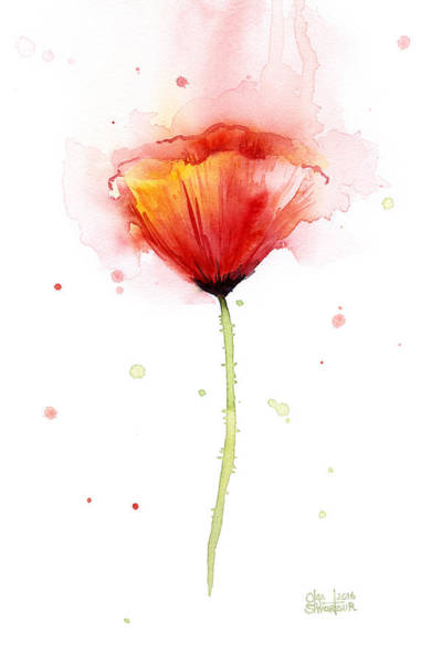 Red Poppies Wall Art - Painting - Poppy Watercolor Red Abstract Flower by Olga Shvartsur