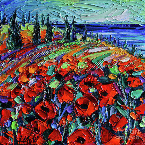 Wall Art - Painting - Poppyscape - Textural Impasto Knife Oil Painting - Mona Edulesco by Mona Edulesco