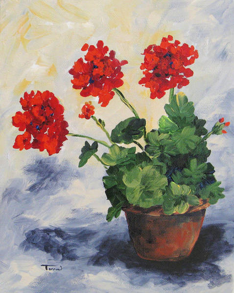 Red Geraniums Wall Art - Painting - Porch Geraniums by Torrie Smiley