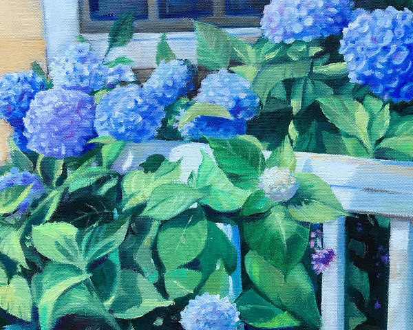 Wall Art - Painting - Porch Hydrangeas by Leslie Alfred McGrath