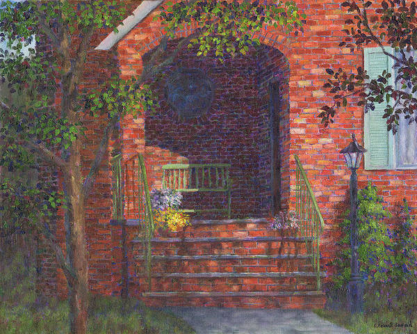 Painting - Porch With Green Bench by Susan Savad