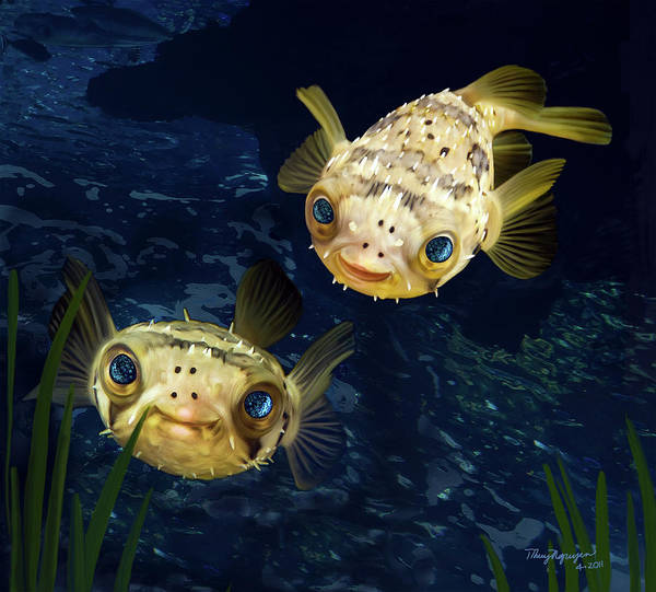 Sea Life Digital Art - Porcupine Puffer  by Thanh Thuy Nguyen