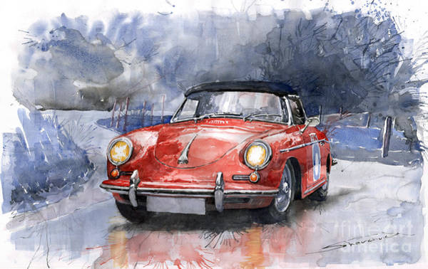 Watercolours Wall Art - Painting - Porsche 356 B Roadster by Yuriy Shevchuk