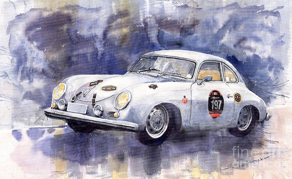Watercolours Wall Art - Painting - Porsche 356 Coupe by Yuriy Shevchuk