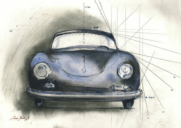 Wall Art - Painting - Porsche 356  by Juan Bosco