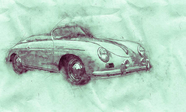Wall Art - Mixed Media - Porsche 356 - Luxury Sports Car 3 - 1948 - Automotive Art - Car Posters by Studio Grafiikka