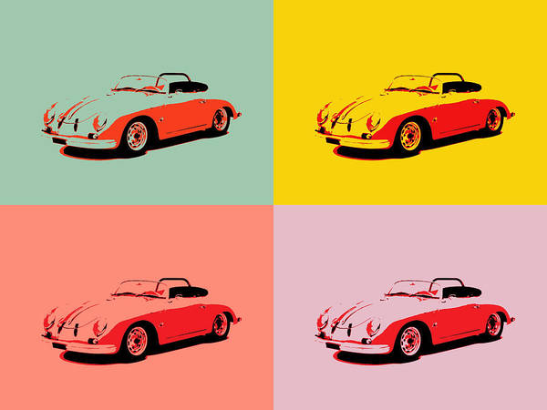 Fast Mixed Media - Porsche 356 Pop Art Panels by Dan Sproul