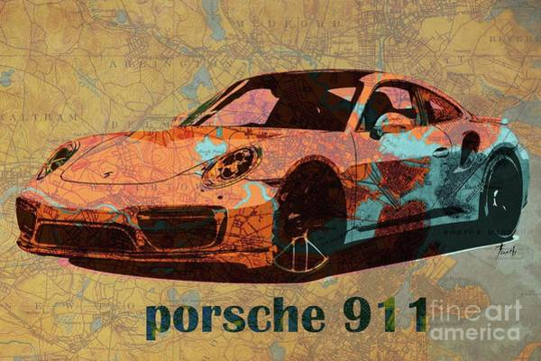 Car Drawing - Porsche 911 2017 On Old Boston Map Year 1893 by Drawspots Illustrations