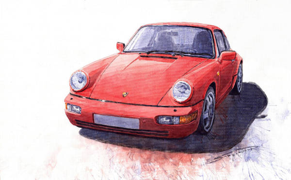Auto Wall Art - Painting - Porsche 911 Carrera 2 1990 by Yuriy Shevchuk