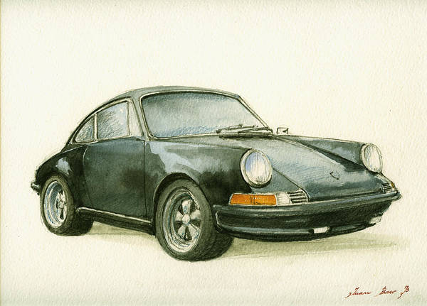 Watercolor Painting - Porsche 911 Classic Car Art by Juan  Bosco