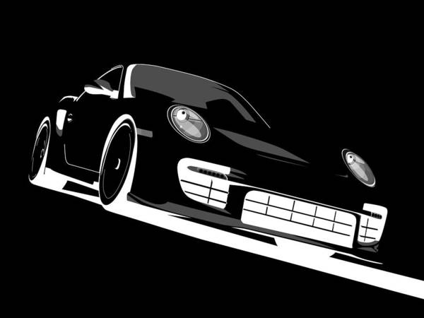Vehicles Wall Art - Digital Art - Porsche 911 Gt2 Night by Michael Tompsett