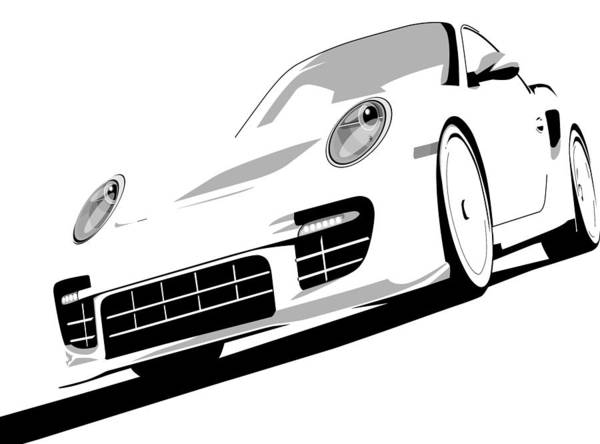 Vehicles Wall Art - Digital Art - Porsche 911 Gt2 White by Michael Tompsett