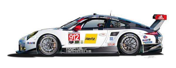 Wall Art - Digital Art - Porsche 911 Gtlm Illustration by Alain Jamar