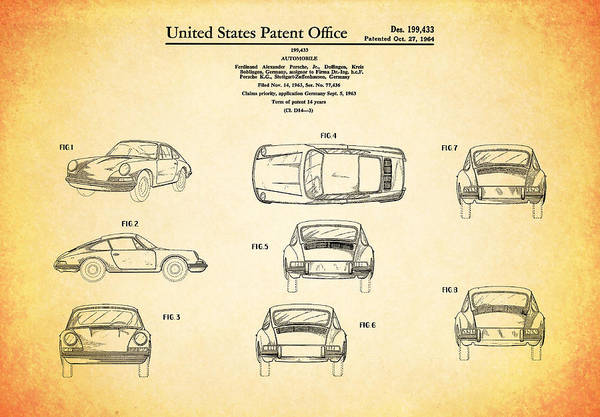 Classic Car Photograph - Porsche 911 Patent by Mark Rogan