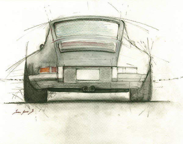 Watercolor Painting - Porsche 911 Rs by Juan Bosco