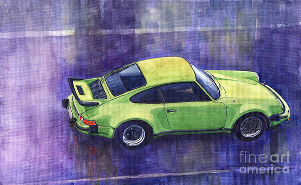 Watercolour Painting - Porsche 911 Turbo Green by Yuriy Shevchuk