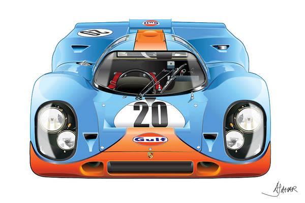 Digital Image Digital Art - Porsche 917 Gulf On White by Alain Jamar