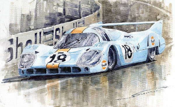 Racing Car Wall Art - Painting - Porsche 917 Lh 24 Le Mans 1971 Rodriguez Oliver by Yuriy Shevchuk
