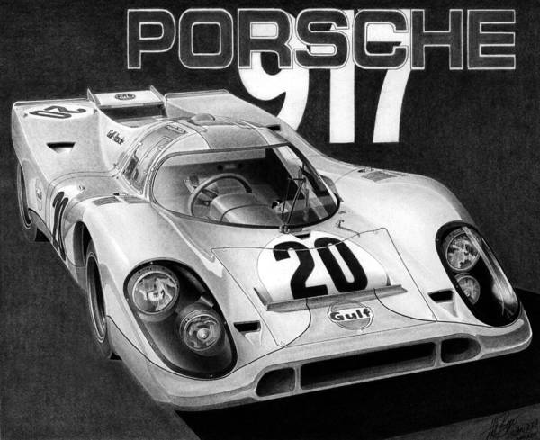 Lemans Wall Art - Drawing - Porsche 917 by Lyle Brown