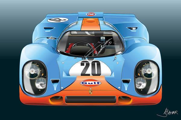 Wall Art - Digital Art - Porsche 917k Kurzneck by Alain Jamar