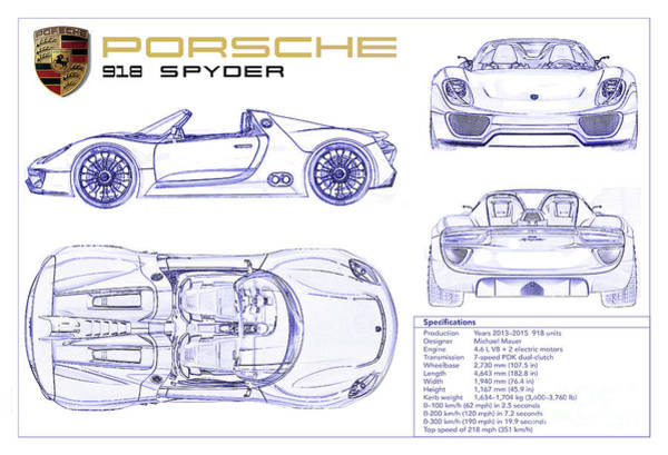 Wall Art - Photograph - Porsche 918 Spyder Blueprint by Jon Neidert