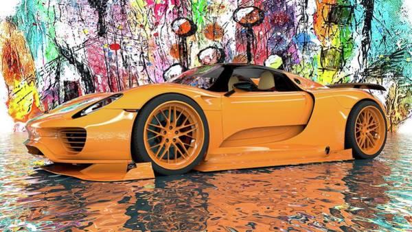 Wall Art - Digital Art - Porsche 918 Supercar by Louis Ferreira