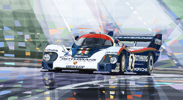 Car Mixed Media - Porsche 956 Rothmans 1982 1000km Francorchamps Derek Bell by Yuriy Shevchuk