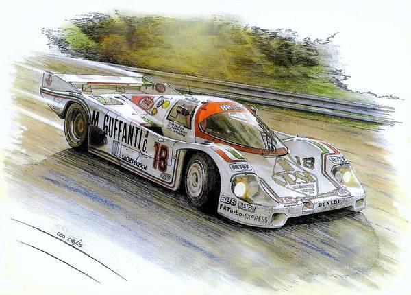 Mixed Media Drawing - Porsche 956b by Leonardo Baigorria