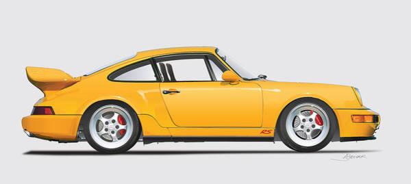 Wall Art - Digital Art - Porsche 964 Carrera Rs Illustration In Yellow. by Alain Jamar