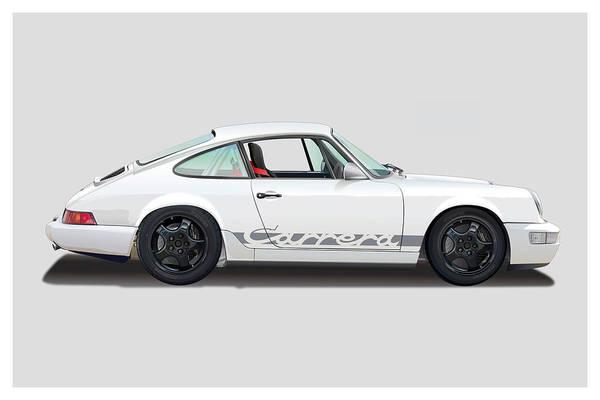 Wall Art - Digital Art - Porsche 964 Carrera Rs White by Alain Jamar