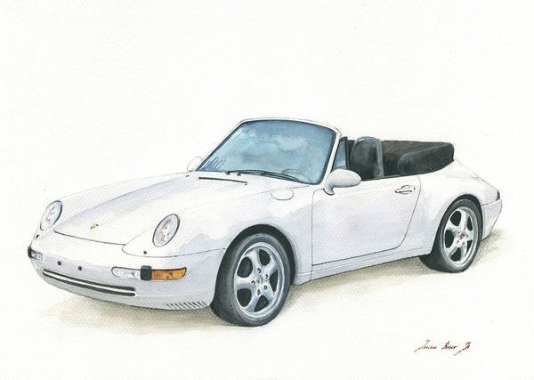 Wall Art - Painting - Porsche 993 Cabrio by Juan Bosco
