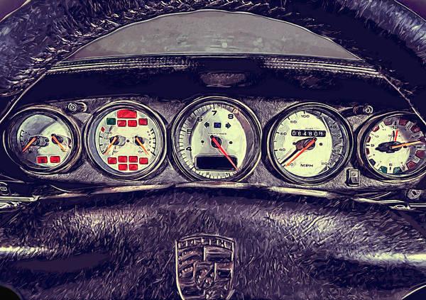 Dashboard Digital Art - Porsche 993 Turbo Dashboard by Yurdaer Bes