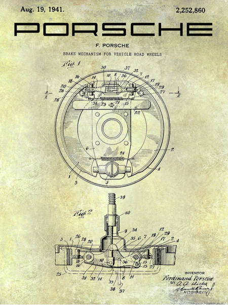Wall Art - Photograph - Porsche Brake Mechanism Patent by Jon Neidert