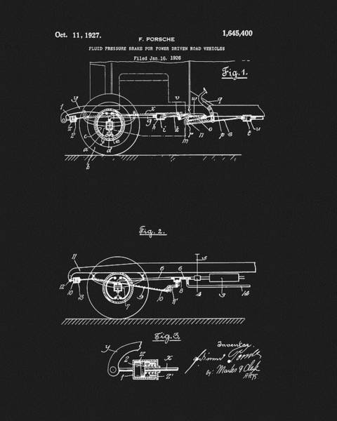 Car Drawings Mixed Media - Porsche Brake Method Patent by Dan Sproul