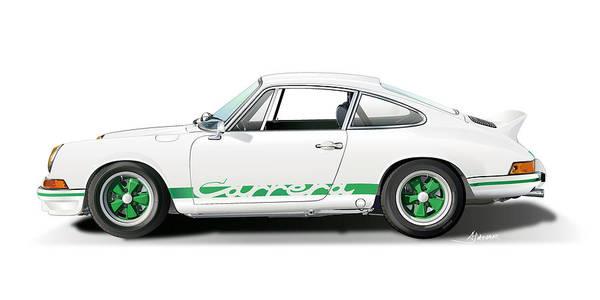 Digital Image Digital Art - Porsche Carrera Rs Illustration by Alain Jamar