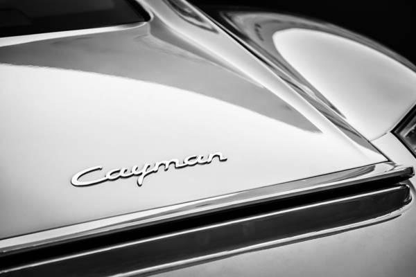 Photograph - Porsche Cayman Taillight Emblem -1584bw by Jill Reger