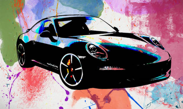 Fast Mixed Media - Porsche Color Poster by Dan Sproul