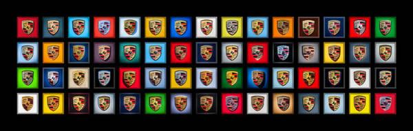 Wall Art - Photograph - Porsche Emblems -001 by Jill Reger